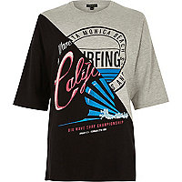 Schwarzes Boyfriend-T-Shirt mit California-Motiv