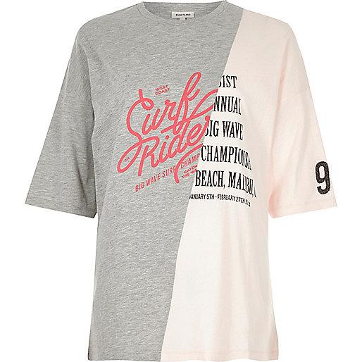 Grey surf print boyfriend T-Shirt