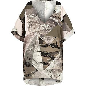 Grey geometric print cold shoulder T-shirt