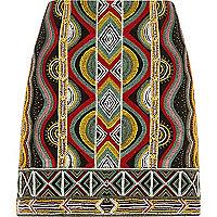 Mini-jupe imprimé géométrique et perles brodées noire