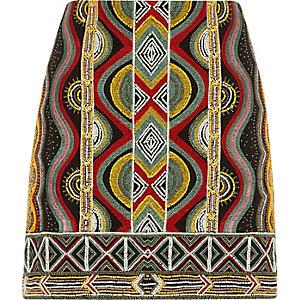 Black geo embroidered beaded mini skirt