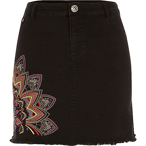 Black embroidered denim mini skirt
