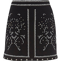 Black studded mini skirt