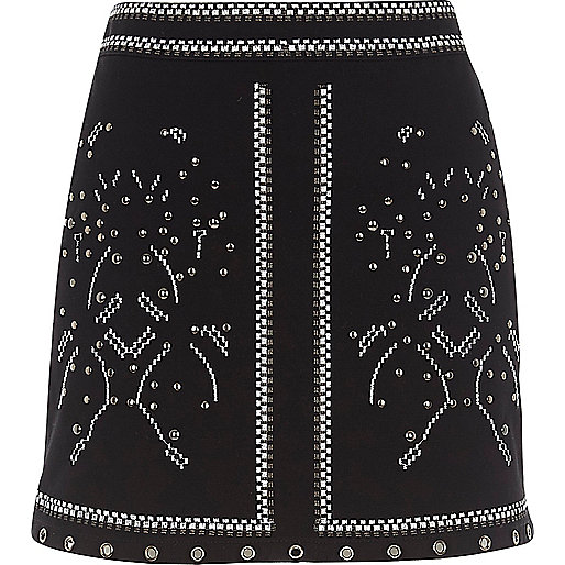 Black studded mini skirt