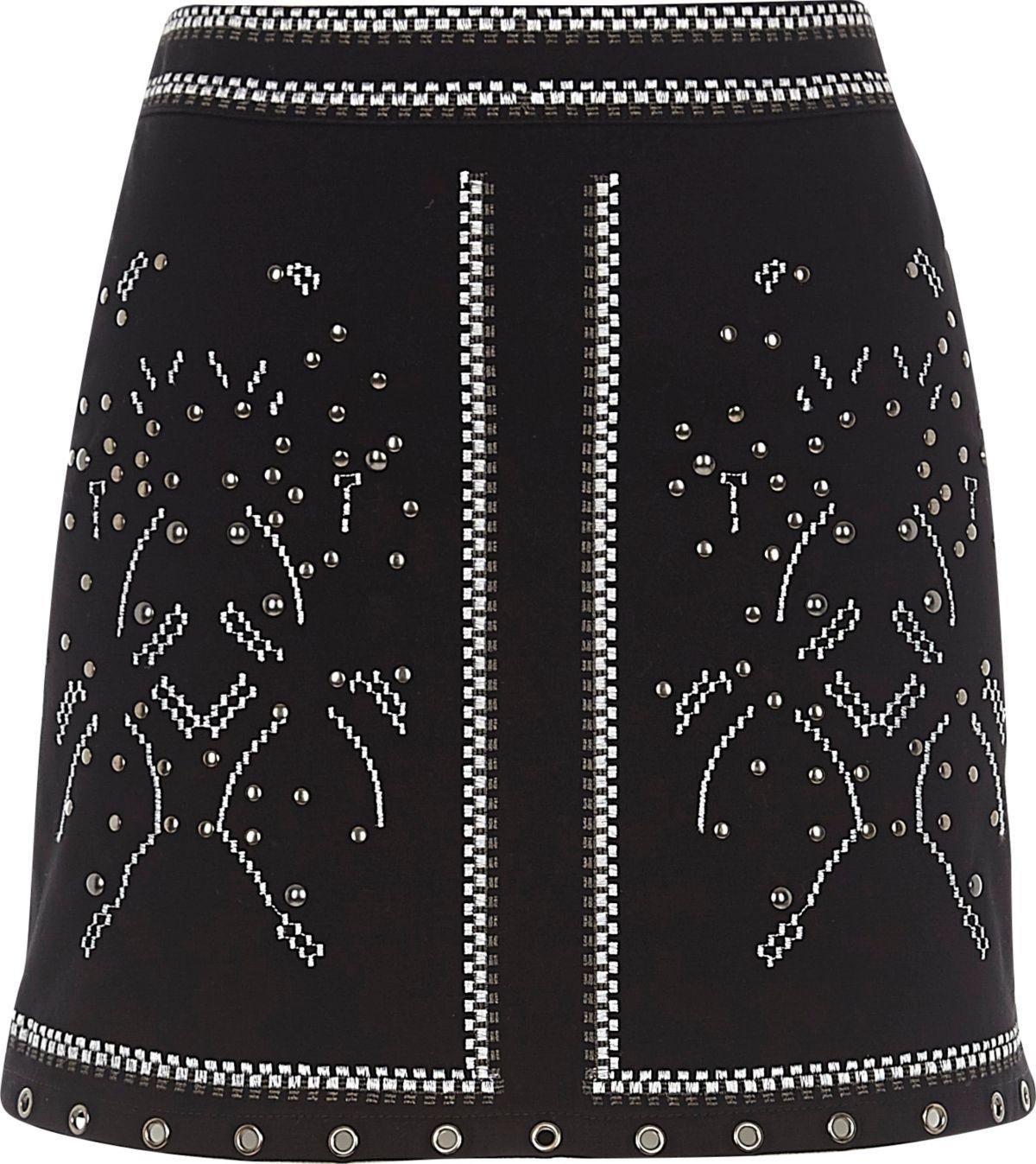 Mini-jupe noire cloutée