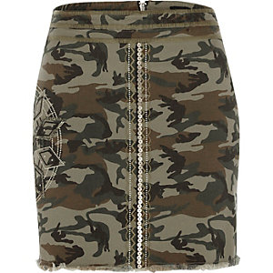 Khaki green camo sequin mini skirt