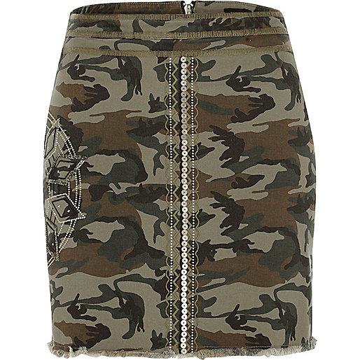 Khaki green camo sequin mini skirt