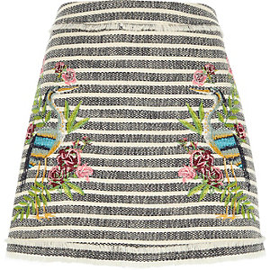 Grey tweed stripe embroidered mini skirt