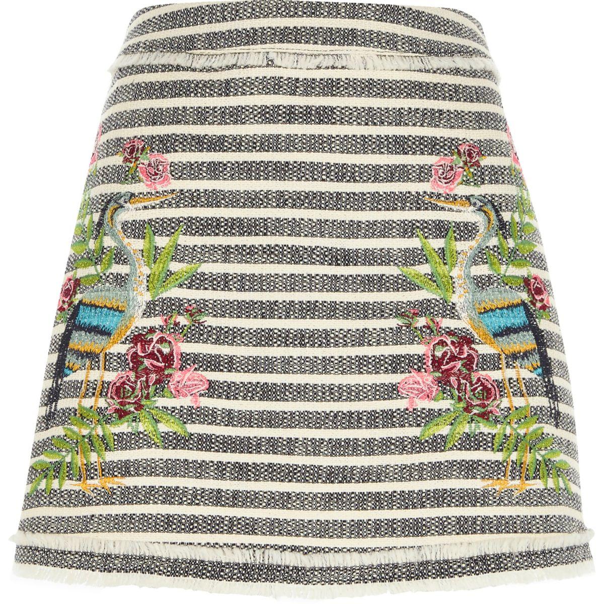 Grey tweed stripe embroidered mini skirt