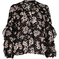 Black floral print frill blouse