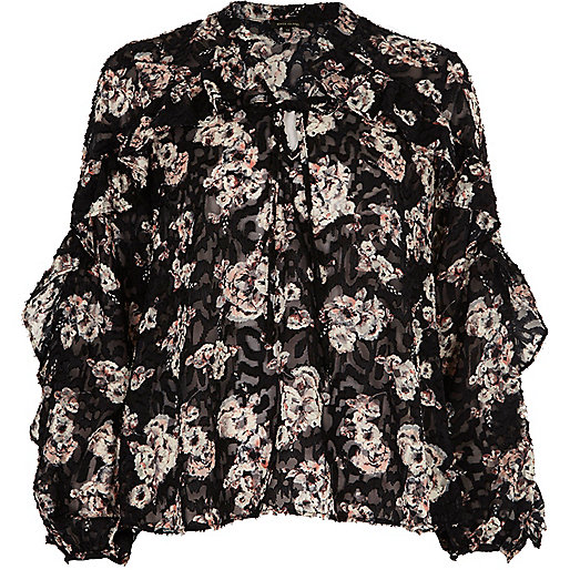 Black floral print frill blouse