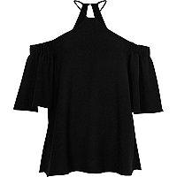 Black cross neck bardot blouse
