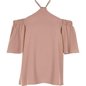 Light pink cross neck bardot blouse
