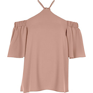 Light pink cross neck bardot blouse