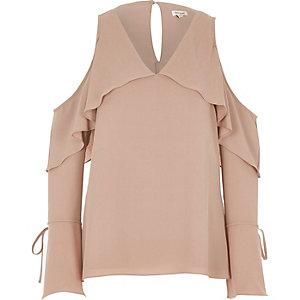 Light pink cape frill cold shoulder top