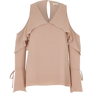 Light pink cape frill cold shoulder top