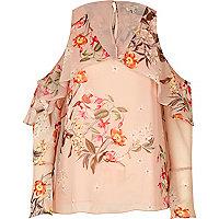 Pink print cape frill cold shoulder top