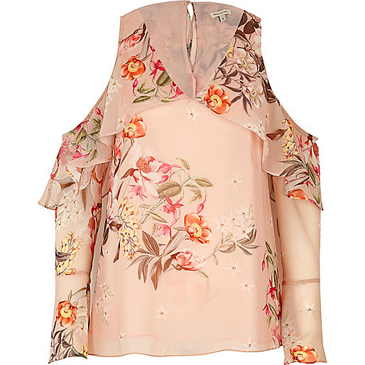 Top rose à épaules dénudées avec volant style cape