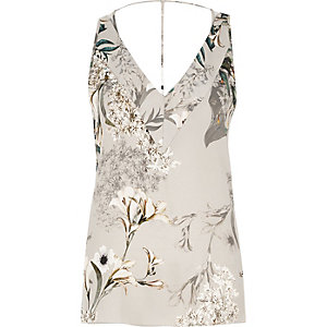 Grey satin floral print cami top