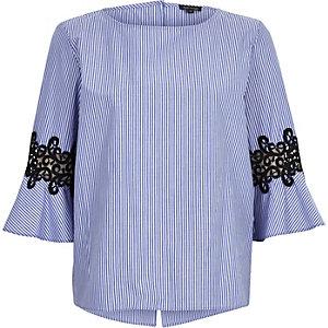 Blue stripe crochet trumpet sleeve top