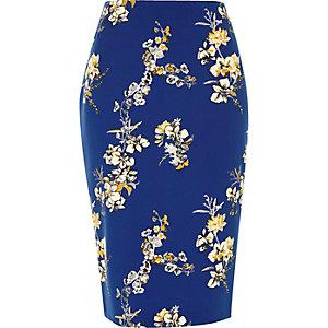 Jupe crayon à fleurs bleue