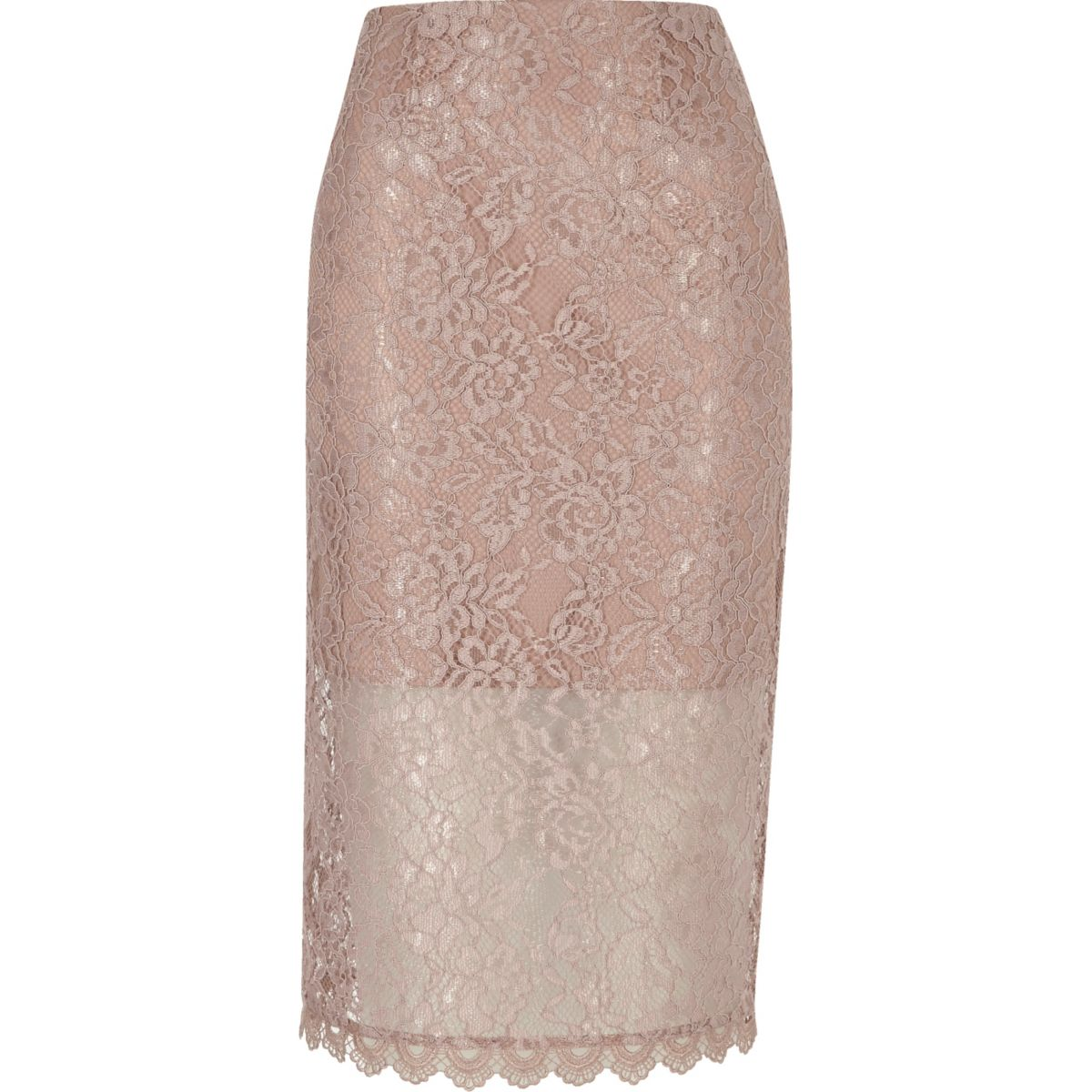 Pink lace pencil skirt