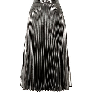Silver high waisted metallic midi skirt