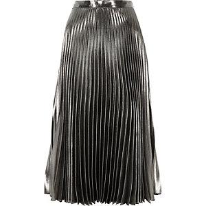Jupe mi-longue argenté métallisé à taille haute