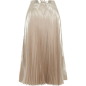 Light pink metallic pleated skirt