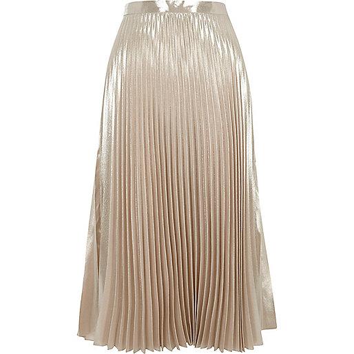 Light pink metallic pleated skirt