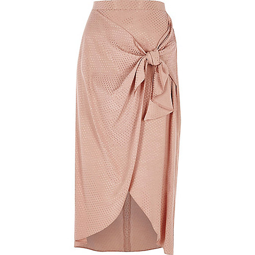 Light pink tie waist midi skirt