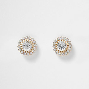 Yellow floral outline studs