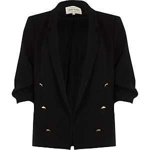 Black ruched sleeve button blazer