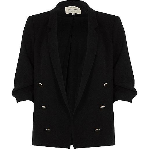 Black ruched sleeve button blazer