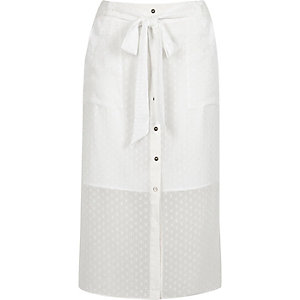 White button through midi skirt