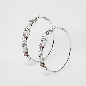 White diamante gem hoop earrings