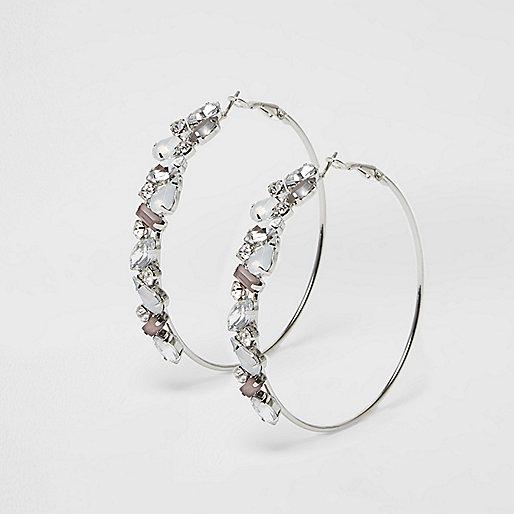 White rhinestone gem hoop earrings