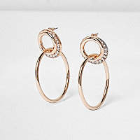 Rose gold interlinked hoop earrings