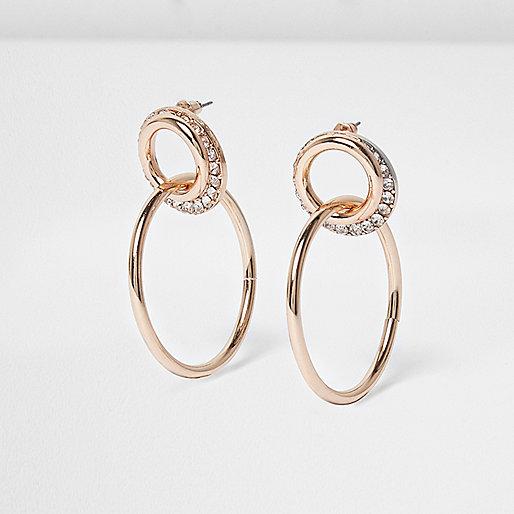Rose gold interlinked hoop earrings