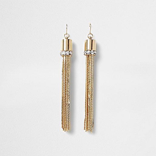 Boucles d'oreilles avec pendentifs dorées à franges