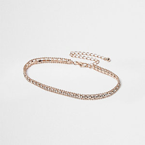 Rose gold tone diamante embellished anklet