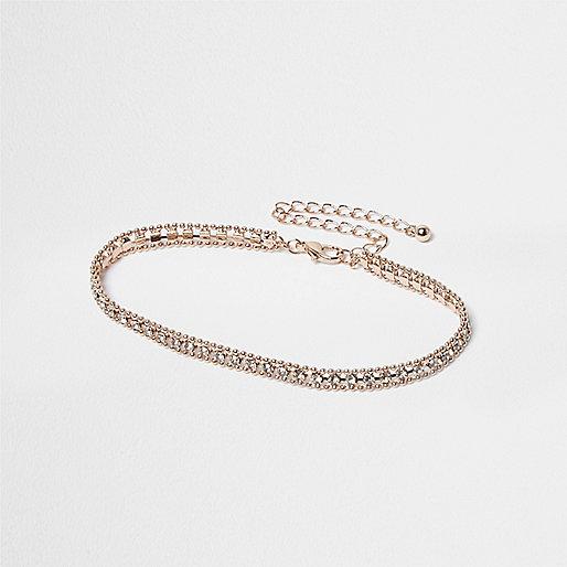 Rose gold tone rhinestone embellished anklet