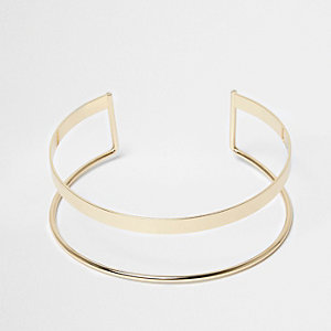 Gold tone two row choker