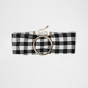 Gold tone circle gingham choker