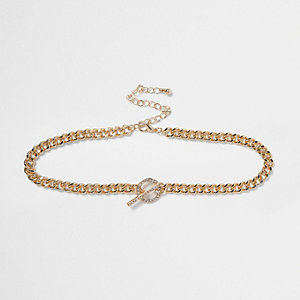 Gold tone T-bar chain diamante choker