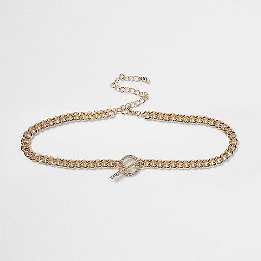 Gold tone T-bar chain diamante choker