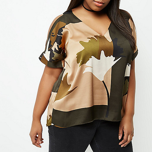 Plus brown camo print cold shoulder top