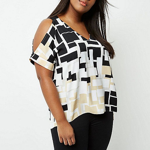Plus beige square print cold shoulder top