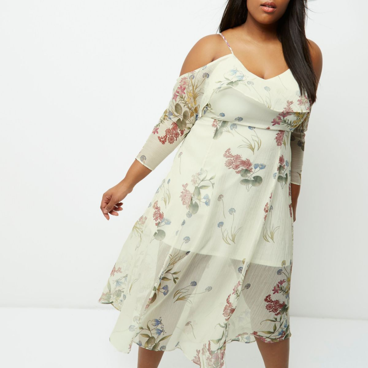 Plus cream floral print cold shoulder dress