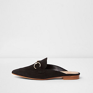 Black suede snaffle backless loafers
